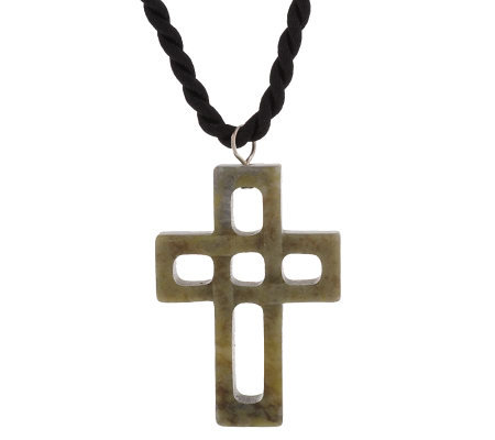 Connemara Marble Cross Pendant with Cord