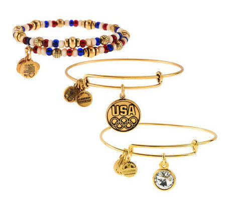 Alex and Ani Team USA Charm Bangle Bracelet Set