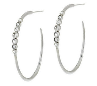 Stainless Steel Elongated Hoop Earrings with Crystal - J287305