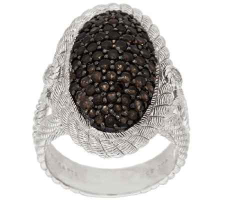Judith Ripka Sterling Smoky Quartz Pave' Oval Textured Ring