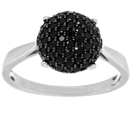0.55 ct tw Black Spinel Round Pave' Sterling Ring