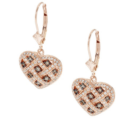 Argyle Diamond 5/8cttw Leverback Heart Earrings, Sterling