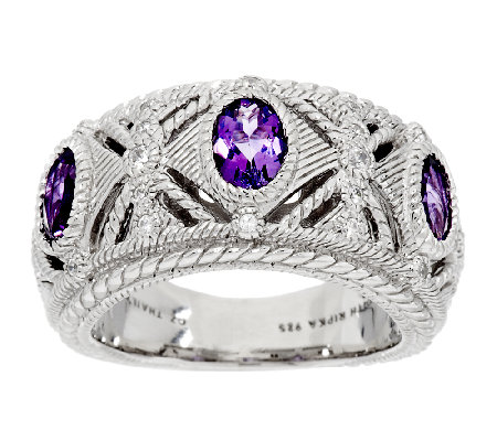 Judith Ripka Sterling Silver Bezel Set Amethyst & Diamonique Ring