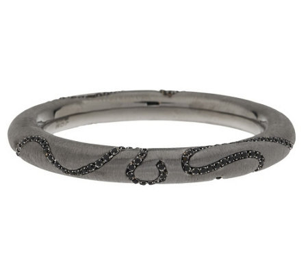 """As Is"" Italian Silver Sterling Large Diamonique Round Bangle"