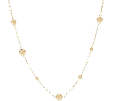 "14K Gold 18"" Polished Bead Station Necklace"