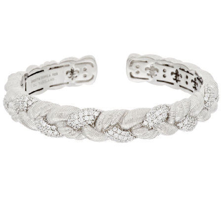 Judith Ripka Sterling 1.55 ct tw Diamonique Braided Cuff