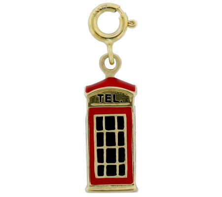 London Phone Booth Enamel Charm, 14K Gold