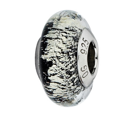Prerogatives Sterling Black/White Italian Murano Glass Bead