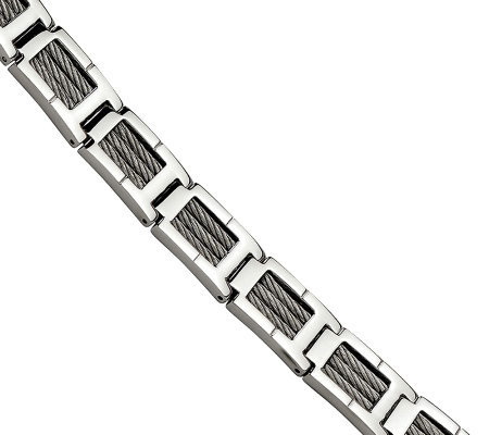 "Forza 8-1/4"" Cable Polished Bracelet"