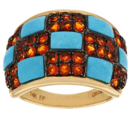 Sleeping Beauty Turquoise and Fire Opal Domed Ring, 14K Gold