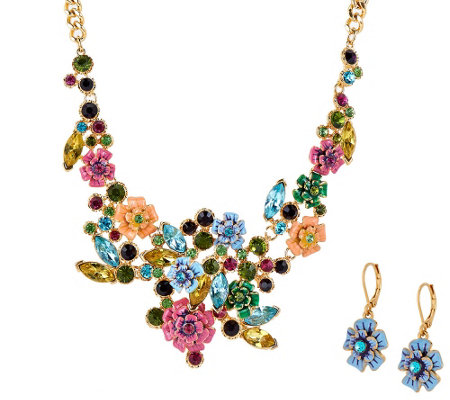 Joan Rivers Language of Flowers Brights Necklace & Earrings Set