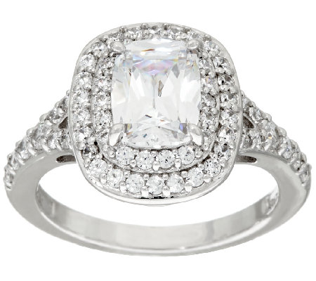 Diamonique Double Halo Emerald Cut Ring, Platinum Clad
