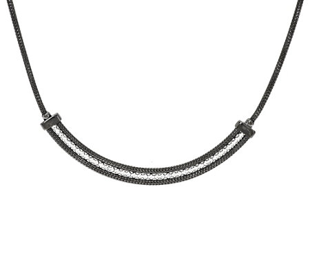 """As Is"" VicenzaSilver Sterling 18"" Mesh Crystal Necklace"