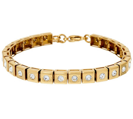 Stainless Steel Polished Crystal Line Bracelet