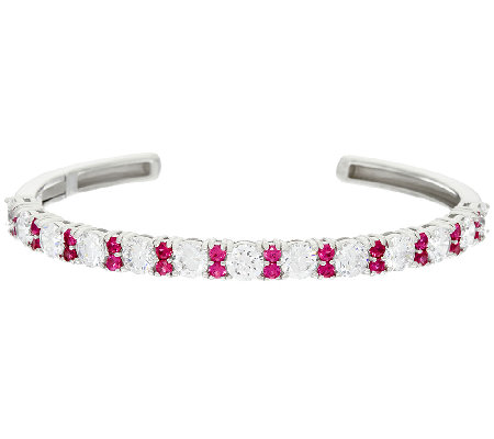 Diamonique & Simulated Gemstone Cuff Bracelet, Sterling