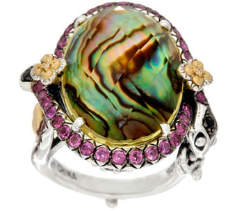 Barbara Bixby Sterling & 18K Abalone & Lemon Quartz Doublet Snake Ring - J327505