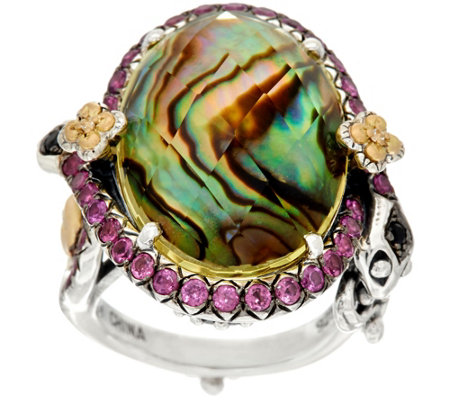Barbara Bixby Sterling & 18K Abalone & Lemon Quartz Doublet Snake Ring