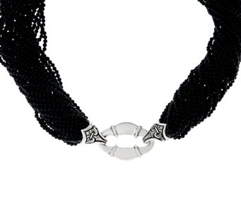 Scott Kay Sterling Silver Black Onyx Bead Bolo Torsade Necklace - J329405