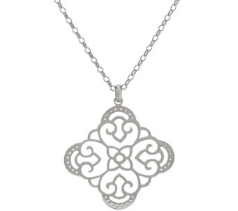 """As Is"" Sterling Open Work Pendant w/ 26"" Chain by Silver Style - J329905"
