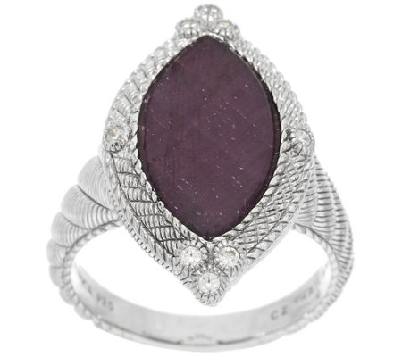 """As Is"" Judith Ripka Sterling 5.25ct Ruby & Diamonique Marquise Ring"