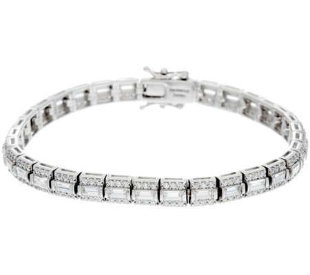 Diamonique Baguette and Round Tennis Bracelet, Platinum Clad