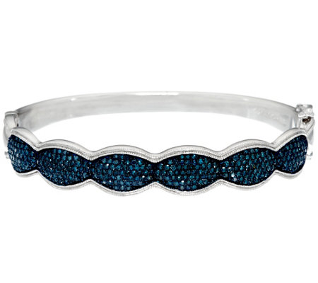 Blue Diamond Small Bangle, Sterling, 1.75 cttw, by Affinity