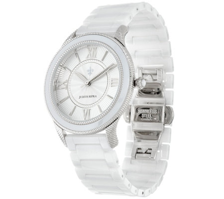 Judith Ripka Stainless Steel Silvertone Newport Ceramic Watch