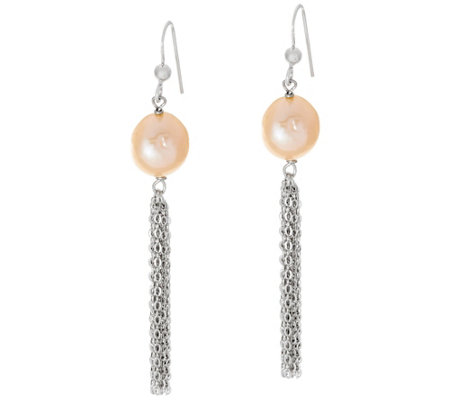 Honora Ming Cultured Pearl 12.0mm Tassel Sterling Drop Earrings