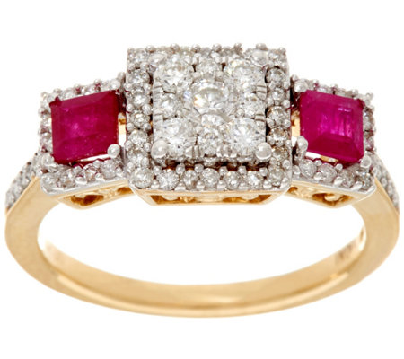 """As Is"" Princess Cluster Diamond & Ruby 14K, 1/2 cttw Affinity"