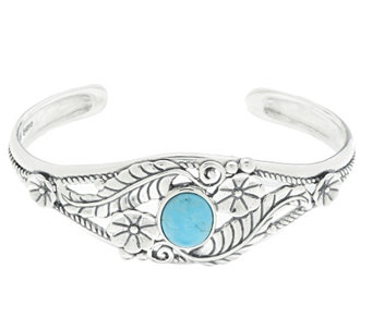 """As Is"" American West Sterling Turquoise Leaf & Flower Cuff - J332705"