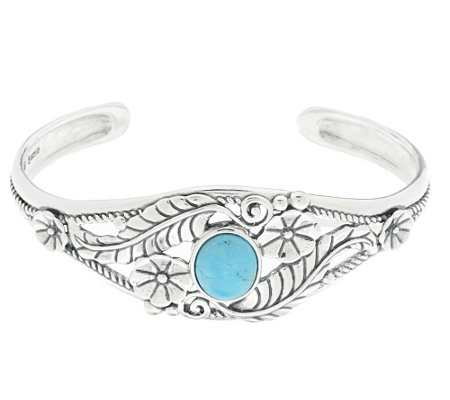 """As Is"" American West Sterling Turquoise Leaf & Flower Cuff"