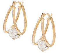 """As Is"" Diamonique 2.00 cttw Split Hoop Earrings, 14K Gold - J333405"