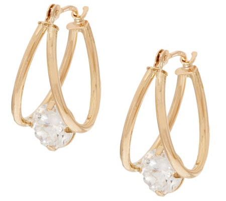 """As Is"" Diamonique 2.00 cttw Split Hoop Earrings, 14K Gold"
