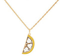 "C. Wonder Lemon Slice Crystal & Enamel Pendant with 32"" Chain - J333705"