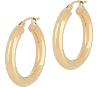 "Dieci 1"" Polished Round Hoop Earrings, 10K Gold - J334605"
