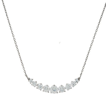 Diamonique Curved Bar Necklace, Sterling or 18K Plated