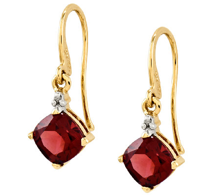 Choice of Gemstone Cushion-Cut Dangle Earrings,14K Gold