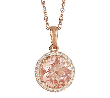 2.00cttw Morganite and Diamond Halo Pendant, 14K Rose Plated