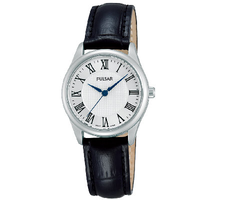 Pulsar Women's Stainless Steel Black Leather Strap Watch