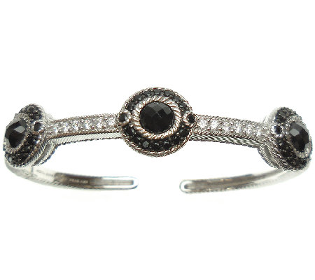 Judith Ripka Sterling Black Spinel & DiamoniqueCuff