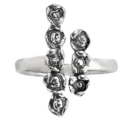 Sterling Silver Rose Design Cuff Ring by Or Paz