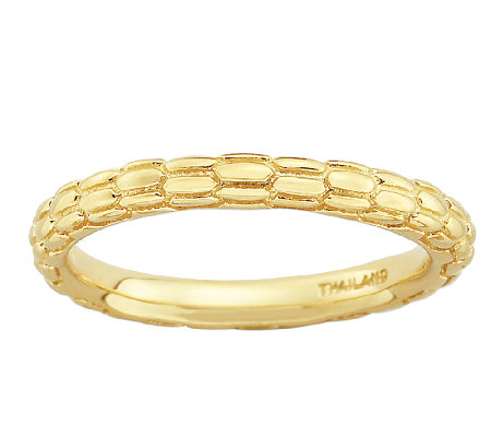 Simply Stacks Sterling 18K Gold Plated TexturedRing