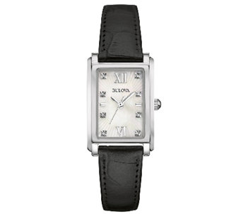 Bulova Women's Mother-of-Pearl & Black LeatherStrap Watch - J339005