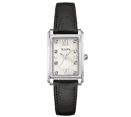 Bulova Women's Mother-of-Pearl & Black LeatherStrap Watch