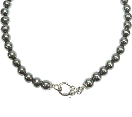 "Judith Ripka Sterling and Hematite Bead 18"" Necklace"