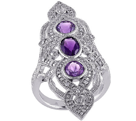 Diamond & 1.60cttw Amethyst Elongated Ring, Sterling