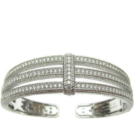 Judith Ripka Sterling and Diamonique Three-Row Open Cuff