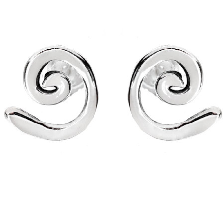 Hagit Sterling Silver Swirl Stud Earrings