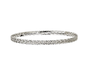 Simply Stacks Sterling Carved Interlocking Heart Bangle - J340905