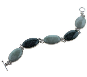 Novica Artisan Crafted Sterling Jade Station Bracelet - J341205